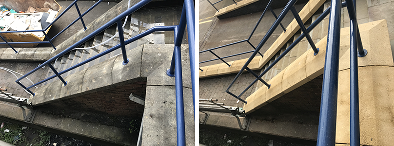 Cleaning of building steps